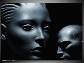 Foto canvas schilderij Gezicht | Grijs, Zwart, Wit