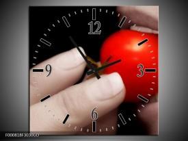 Wandklok op Glas Tomaat | Kleur: Rood, Wit, Zwart | F000818CGD