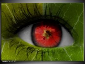 Foto canvas schilderij Ogen | Groen, Rood, Zwart