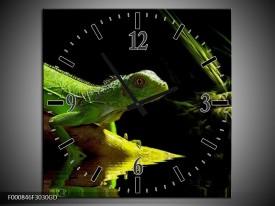 Wandklok op Glas Leguaan | Kleur: Groen, Zwart, Geel | F000846CGD