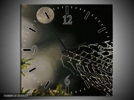 Wandklok op Glas Maan | Kleur: Wit, Grijs, Zwart | F000853CGD