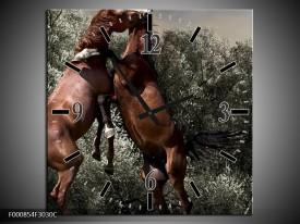Wandklok op Canvas Paarden | Kleur: Bruin, Grijs | F000854C