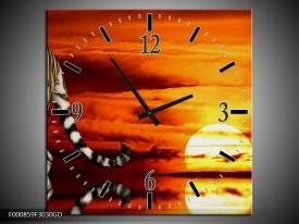 Wandklok op Glas Tijger | Kleur: Bruin, Oranje, Rood | F000859CGD