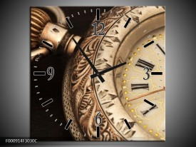 Wandklok op Canvas Klok | Kleur: Goud, Zwart, Bruin | F000914C