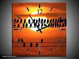 Wandklok op Glas Vogels | Kleur: Zwart, Geel, Oranje | F000918CGD