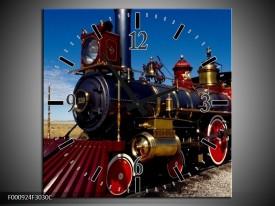 Wandklok op Canvas Trein | Kleur: Rood, Blauw, Goud | F000924C