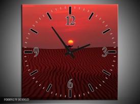 Wandklok op Glas Woestijn | Kleur: Rood, Geel, Zwart | F000927CGD