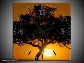 Wandklok op Glas Zonsondergang | Kleur: Zwart, Geel, Oranje | F000934CGD
