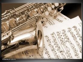 Glas schilderij Muziek | Wit, Grijs