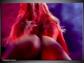 Glas schilderij Vrouw | Rood, Blauw