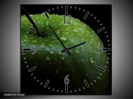 Wandklok op Canvas Appel | Kleur: Groen, Zwart | F000991C