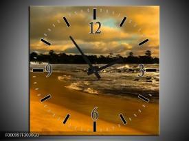 Wandklok op Glas Strand | Kleur: Geel, Bruin, Grijs | F000997CGD