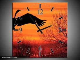 Wandklok op Glas Vogels | Kleur: Zwart, Oranje, Rood | F000998CGD
