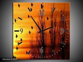 Wandklok op Glas Vogels | Kleur: Geel, Zwart | F001004CGD