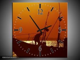 Wandklok op Glas Boot | Kleur: Bruin, Oranje | F001016CGD