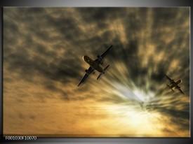 Glas schilderij Vliegtuig | Grijs, Wit