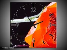 Wandklok op Glas Bloem | Kleur: Rood, Wit, Zwart | F001031CGD