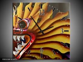 Wandklok op Glas Draak | Kleur: Geel, Bruin, Rood | F001038CGD