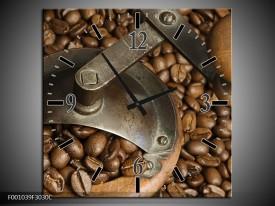 Wandklok op Canvas Koffie   Kleur: Bruin   F001039C