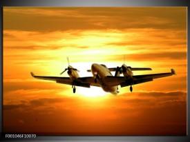 Foto canvas schilderij Vliegtuig | Oranje, Geel, Bruin