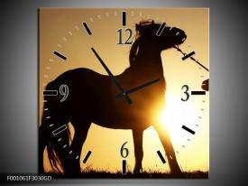 Wandklok op Glas Paard | Kleur: Zwart, Geel | F001061CGD