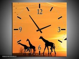 Wandklok op Glas Giraffes | Kleur: Oranje, Geel, Zwart | F001074CGD