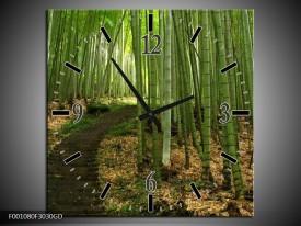 Wandklok op Glas Landschap | Kleur: Groen, Wit | F001080CGD