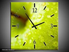 Wandklok op Glas Appel | Kleur: Groen | F001081CGD