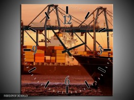 Wandklok op Glas Boot | Kleur: Bruin, Zwart | F001093CGD