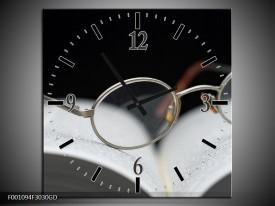 Wandklok op Glas Bril | Kleur: Wit, Zwart | F001094CGD