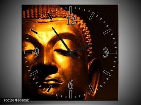 Wandklok op Glas Boeddha | Kleur: Goud, Zwart | F001097CGD