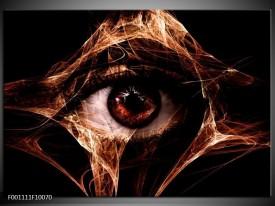 Glas schilderij Oog | Bruin, Wit, Zwart
