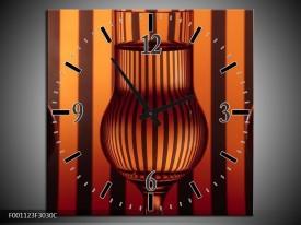 Wandklok op Canvas Glas | Kleur: Bruin, Oranje | F001123C