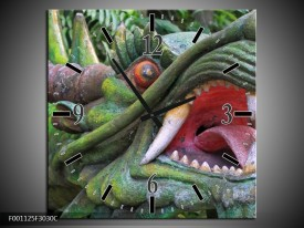 Wandklok op Canvas Draak   Kleur: Groen, Rood, Wit   F001125C