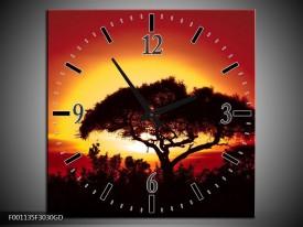 Wandklok op Glas Zonsondergang | Kleur: Zwart, Geel, Rood | F001135CGD