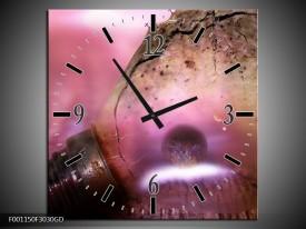 Wandklok op Glas Lamp   Kleur: Paars, Wit   F001150CGD