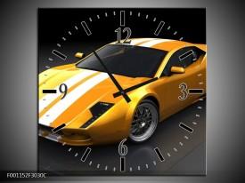 Wandklok op Canvas Auto   Kleur: Geel, Wit, Grijs   F001152C