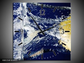 Wandklok op Glas Citroen | Kleur: Blauw, Geel, Grijs | F001154CGD