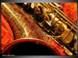 Foto canvas schilderij Muziek | Goud, Rood, Zwart