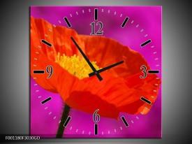 Wandklok op Glas Klaproos | Kleur: Rood, Geel, Paars | F001180CGD