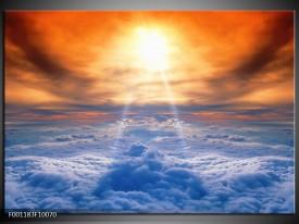 Foto canvas schilderij Wolken   Blauw, Geel, Bruin