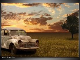 Glas schilderij Auto | Grijs, Geel