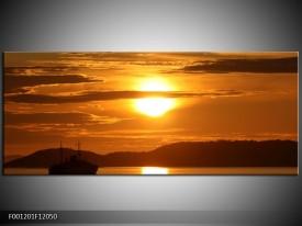 Canvas schilderij Zonsondergang | Geel, Bruin, Zwart | 120x50cm 1Luik