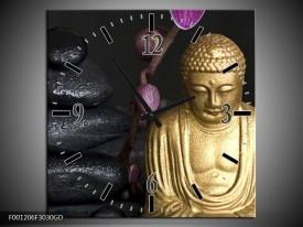 Wandklok op Glas Boeddha | Kleur: Goud, Zwart, Paars | F001206CGD