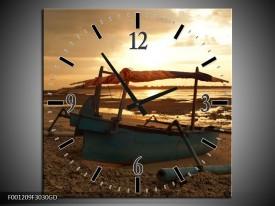 Wandklok op Glas Strand | Kleur: Geel, Wit, Bruin | F001209CGD