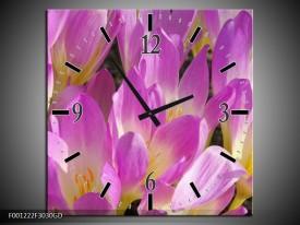 Wandklok op Glas Bloem | Kleur: Paars, Wit, Geel | F001222CGD
