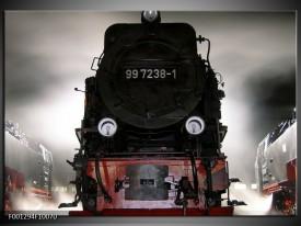 Foto canvas schilderij Trein | Zwart, Wit, Grijs
