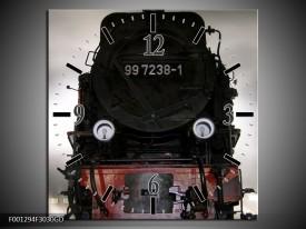 Wandklok op Glas Trein | Kleur: Zwart, Wit, Grijs | F001294CGD