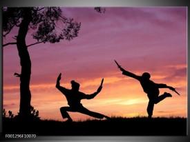 Glas schilderij Sport | Paars, Wit, Geel