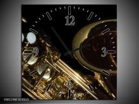 Wandklok op Glas Muziek | Kleur: Goud, Zwart | F001298CGD